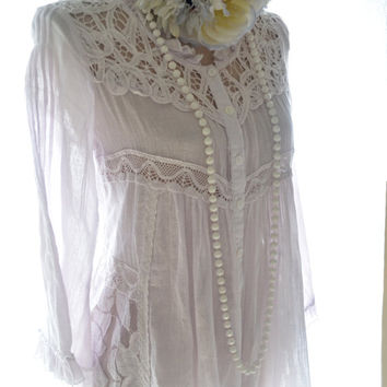 Coachella gauze tunic, Bohemian hippie chic Mexicali Shirt, Lilac, Boho chic clothes, Romantic clothes, Music festival, True rebel clothing