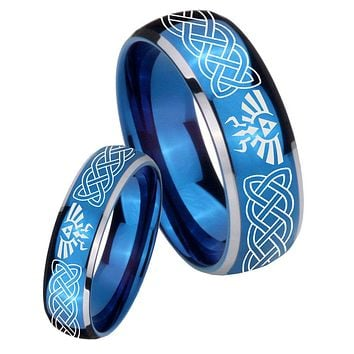 His Her Glossy Blue Dome Celtic Zelda Two Tone Tungsten Wedding Rings Set