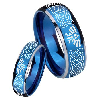 Bride and Groom Celtic Zelda Dome Blue 2 Tone Tungsten Mens Wedding Band Set