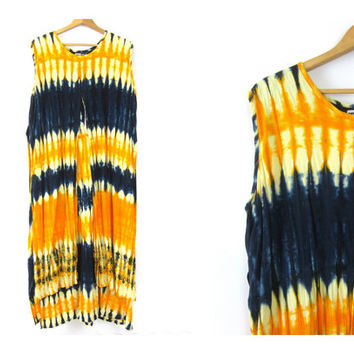 Boho Tie Dye Dress Embroidered Long Maxi Festival Dress Hippie Ethnic Bohemian Slip Tribal Tie Dyed Yellow & Blue Embroidery Womens Large