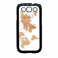 World Map On Wood Texture Print White Samsung Galaxy S3 Case