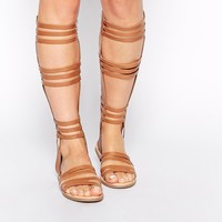 ASOS FENTIMAN Leather Knee High Gladiator Sandals