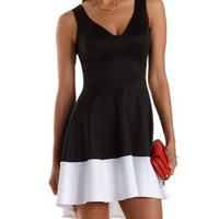 Black Combo High-Low Color Block Skater Dress by Charlotte Russe