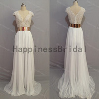 Ivory chiffon dress with belt and lace,long prom dress,evening dress,fashion bridesmaid dress,chiffon prom dress,formal evening dress 2014