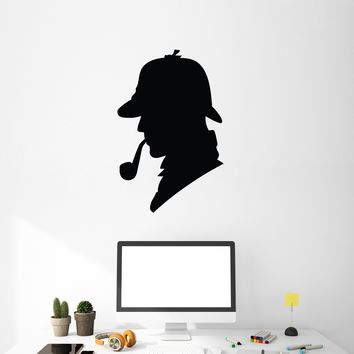 Vinyl Wall Decal Sherlock Detective Doyle Police Silhouette Office Book Stickers Mural (g003)