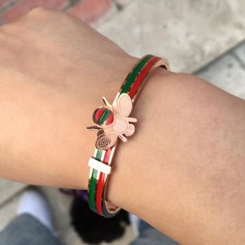 GUCCI New Trending Woman Stylish Chic Red Green Stripe Bee Bracelet For Best Gift I11991-1
