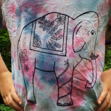 Girls Elephant Shirt, Kids S- Elephant Birthday Gift- Elephant TShirt- Tie Dye Elephant Clothing- Girls Tiedye Elephant- Zentangle Elephant