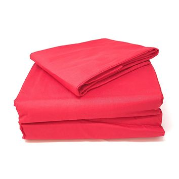 Tache 2 to 3 PC Cotton Solid Vibrant Red Bed Sheet (Flat Sheet) (TABS3PC-RFL)