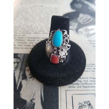 Navajo Native American turquoise and red coral sterling silver large ring size 8