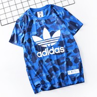 Adidas Summer Fashion New Letter Leaf Print Camouflage Women Men Sports Leisure Top T-Shirt Blue