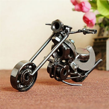 Small Retro Motorcycle Model Vintage Harley Motorcycle Model Iron Metal Crafts Birthday Gift Bar Desktop Home Decor