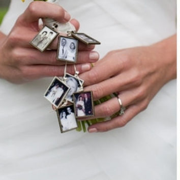 10 Photo frame Pendant charms  ONLY for charm bracelets, family photos and wedding bouquets  / rectangle bezel Lead and Nickel Free