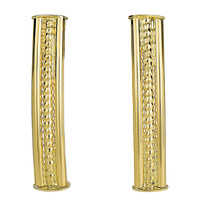 14K Yellow Gold Diamond Cut Curved Tube Rectangular Bar Stud Style Earrings