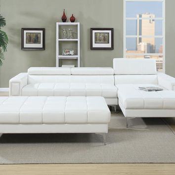 Bonded Leather 2 Piece Sectional Set In White