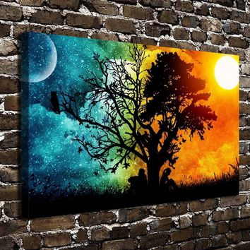 Moon sun night seasons summer HD Canvas print Posters Home decor Paintings Living Room Bedroom Wall Art Picture