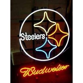 Business NEON SIGN board For  LED PITTSBURGH STEELERS BUDWEISER   REAL GLASS Tube BEER BAR PUB Club Shop Light Signs 17*14""