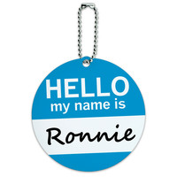 Ronnie Hello My Name Is Round ID Card Luggage Tag