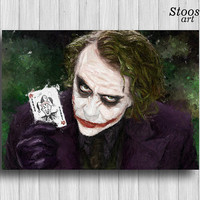 Joker print dc comics poster superhero watercolor anti hero