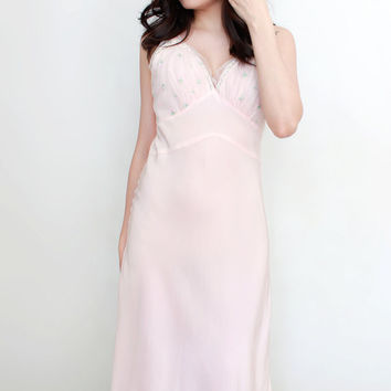 Vintage 1950s Pastel Pink Slip Negligee Nightgown by Aristocraft - Size Small