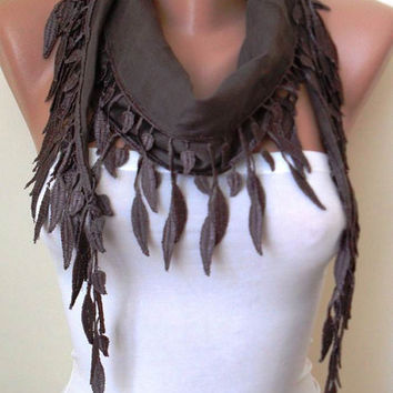 Pale Brown  -- Lightweight Summer Scarf with Trim Edge