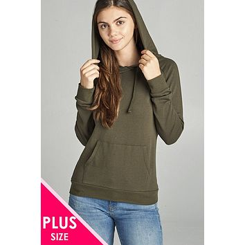 French Terry Olive Green Pullover Hoodie