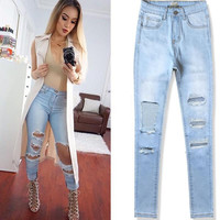 High Waist Destroyed Jeans For Women 2016 Spring Skinny Slim Ripped Bleached Hole High Quality 3XL Denim Pencil Pants FT00181