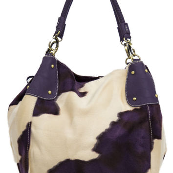 Off White and Deep Purple Faux Fur Patterned Purse