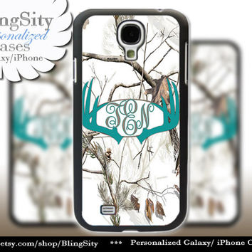 Turquoise Antlers Monogram Galaxy S4 case S5 Real Tree Camo White Deer Personalized Browning Samsung Galaxy S3 Case Note 2 3 Country Girl