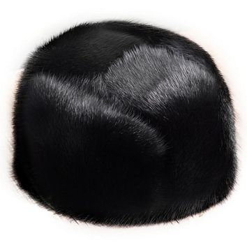 Glaforny men mink fur hat Men's Mink Fur Trapper Cap Genuine Sheepskin Leather Hunting Hat Ushanka