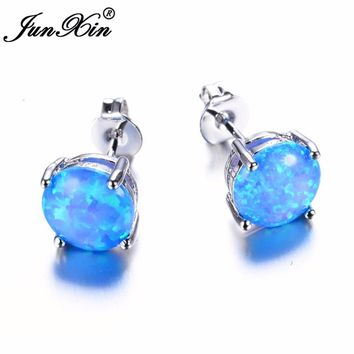 JUNXIN Female White/Blue/Pink/Purple Round Fire Opal Stud Earring 925 Sterling Silver Filled Jewelry Double Earrings For Women