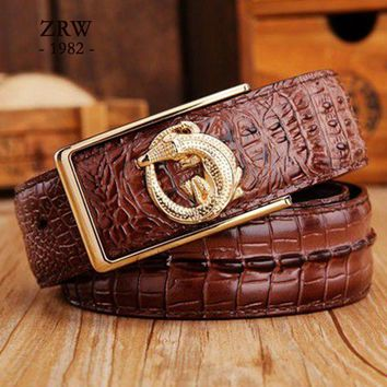 2017 brand new all-matched men's gold belt cowboy classic crocodile stylish belts men smooth buckle