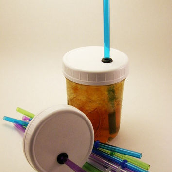 4 pack Reusable ToGo Cup Wide Mouth Ball Mason Jar Lid With Color Straw Earth Day Adult Sippy Cup