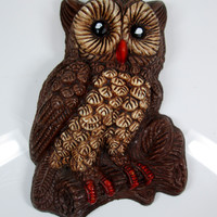Vintage Owl Wall Plaque Brown