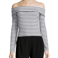 Derek Lam 10 Crosby Long-Sleeve Striped Off-the-Shoulder Top, Soft White