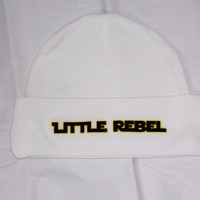 Star Wars Rebel Baby Hat. Star Wars Inspired Little Rebel Beanie Hat. White. One Size Fits Most.
