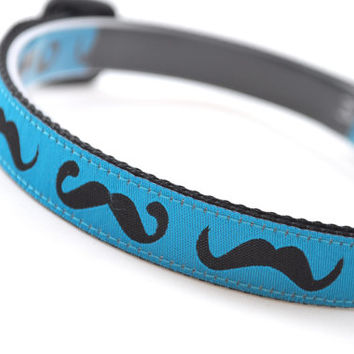 """Dog Collar """"Mustache - Teal & Black"""" - 5/8"""" Width - Available in 3 Sizes (XS, S, M)"""