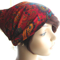 Oriental Floral Head Scarf, Fabric Headband, Kerchief, Women's Head Wrap, Head Covering Headscarf, Traditional Hairscarf. Hair Accessory