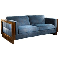 Blue Leather and Straw Marquetry Sofa Realized by Jouffre and Lison de Caunes