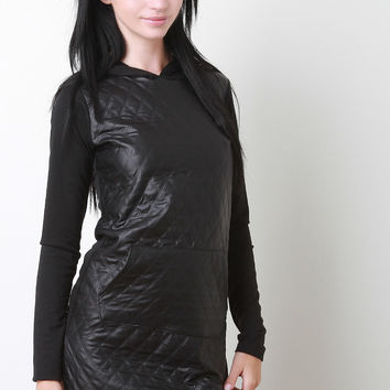Quilted Vegan Leather Hoodie Dress
