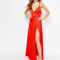 Fame and Partners Luminous Siren Embellished Strap Maxi Dress With Thigh Split at asos.com