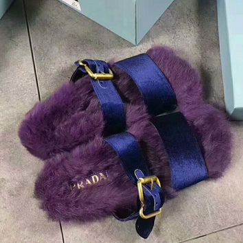 PRADA Rabbit Hair Casual Sandal Slipper Shoes Flip Purple I-AGG-CZDL