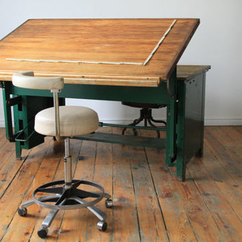 wood and steel Industrial drafting table and desk
