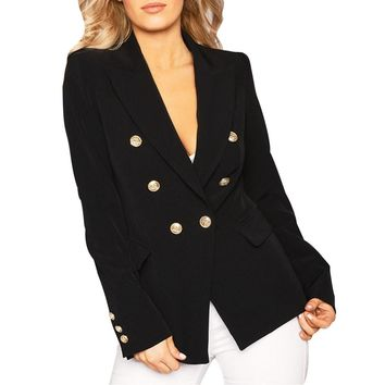 MUQGEW High Quality Womens Double Breasted Gold Button Front Military Style Blazer Coat Jacket winter coat women casaco feminino