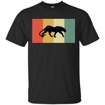 Black Big Cat Panther Retro Color Graphic T Shirt