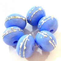 Opaque Periwinkle Blue Handmade Lampwork Glass Beads 220 Shiny (Choices of Etched, .999 Fine Silver, Shapes, Sizes, Large Hole Beads Extra)
