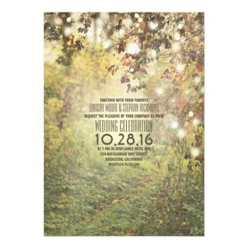 Rustic string lights trees path wedding invitation