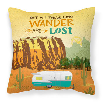 Retro Camper Camping Wander Fabric Decorative Pillow VHA3025PW1818