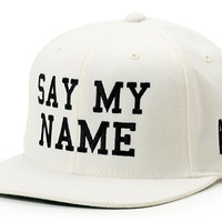Married To The Mob Say My Name White Snapback Hat
