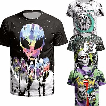 Skull 3 d T Shirt Punk alien Men Summer Tees death evil Hip Hop funny satanism grim reaper super natural t shirt