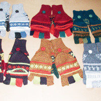 Peruvian Design Alpaca Wool Glittens. Super-Soft, Fashionable and Warm.